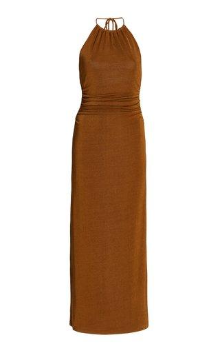 Texas Metallic Knit Maxi Halter Dress