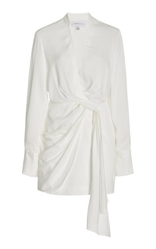 Amalfi Textured Crepe Mini Wrap Shirt Dess