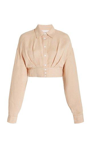 Elora Cropped Linen-Blend Shirt