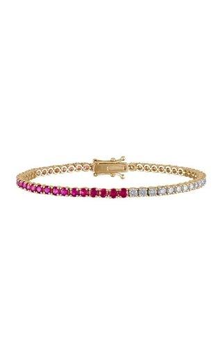 18K Yellow Gold Ruby & Diamond Tennis Bracelet