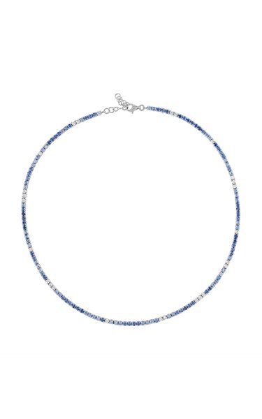 18K White Gold Blue Sapphire & Diamond Choker