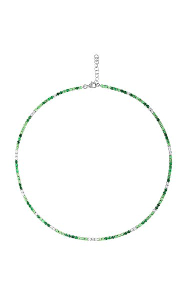 18K White Gold Tsavorite & Diamond Choker