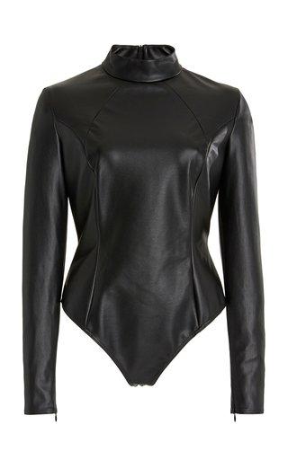 x Wolford Vegan Leather Turtleneck Bodysuit
