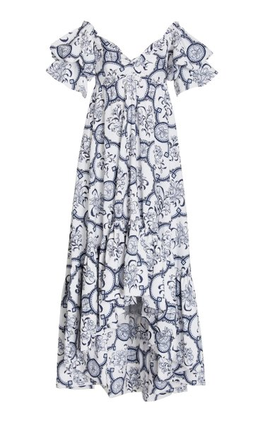 Raquira Off-The-Shoulder Printed Cotton Maxi Dress