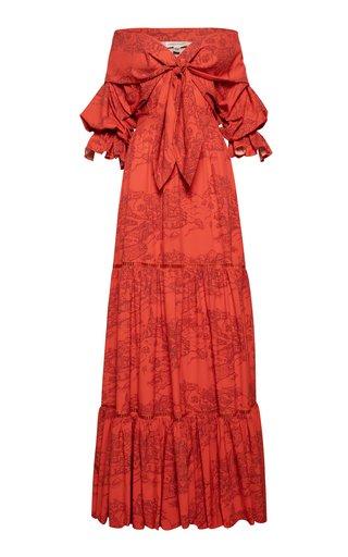 Araucaria Off-The-Shoulder Printed Crepe Maxi Dress