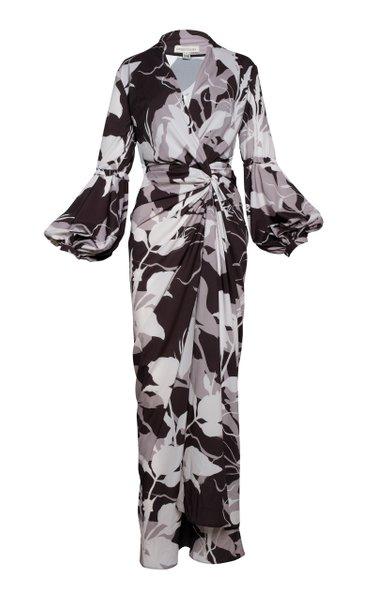 Hechizos Draped Satin-Crepe Maxi Dress