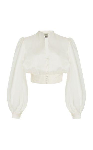 Buenavista Puff-Sleeve Silk-Organza Cropped Top