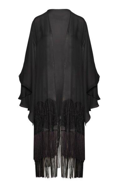 Campesina Fringed Silk-Georgette Kimono