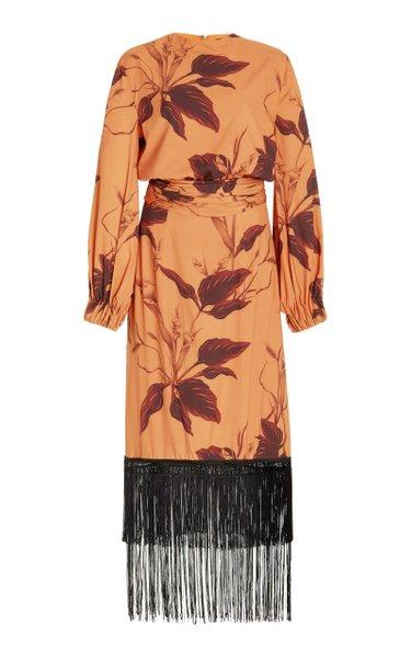 Terracota Fringed Crepe Midi Dress
