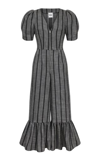 Kitty Striped Woven Cropped Jumpsuit