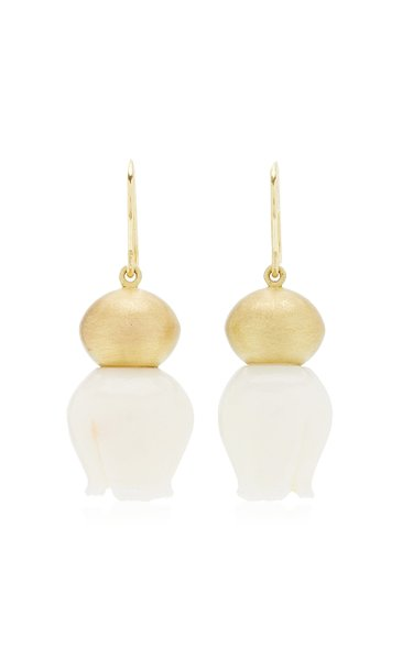 Buoy 18K Yellow Gold Coral Earrings