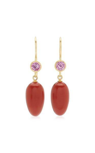 Apple and Eve 22K Yellow Gold Jasper, Sapphire Earrings