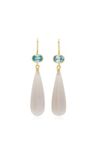 Apple and Eve 22K Yellow Gold Zircon, Agate Earrings