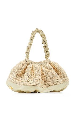 Exclusive XL Pierre Leather-Trimmed Raffia Shoulder Bag