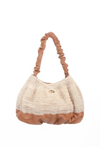 Exclusive Pierre Leather-Trimmed Raffia Shoulder Bag