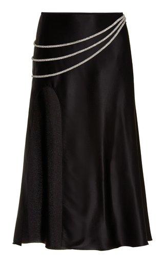Laetitia Embellished Silk-Blend Midi Skirt