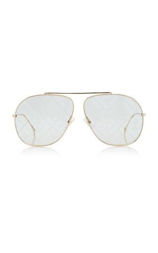 Logo-Lens Aviator-Frame Metal Sunglasses