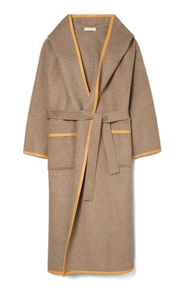Hooded Belted Double-Faced Wool Wrap Coat