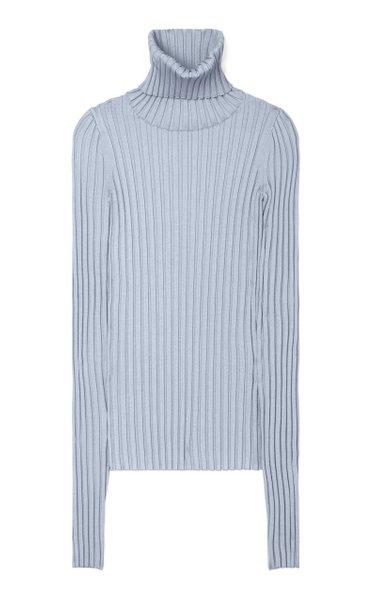 Long-Sleeve Ribbed-Knit Turtleneck Sweater