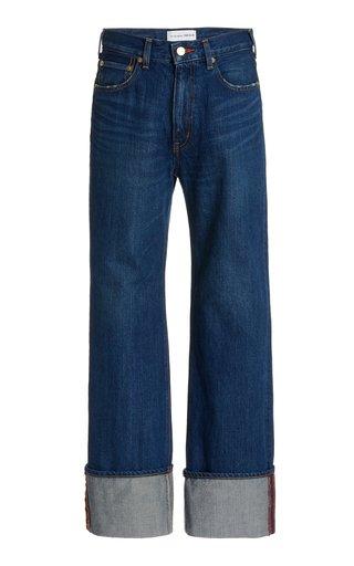 Carnelian Rigid High-Rise Straight-Leg Cuffed Jeans