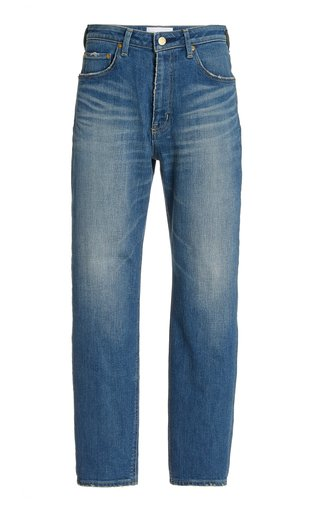 Sapphire Stretch High-Rise Tapered-Leg Jeans