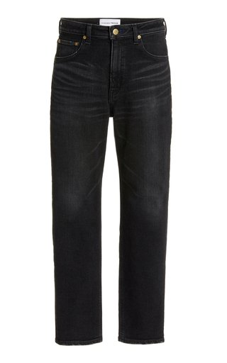 Sapphire Stretch High-Rise Slim-Fit Cropped Tapered-Leg Jeans