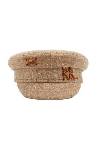 Beaded Wool-Blend Baker Boy Cap