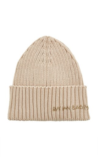 Embroidered Ribbed-Knit Cotton Beanie