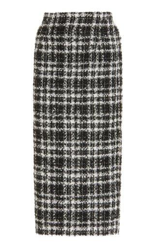 Checked Tweed Midi Skirt
