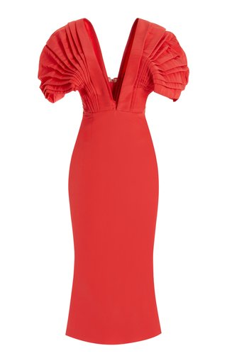 Vieux Puff-Sleeve Silk Faille Midi Dress