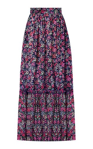 The Protector Tiered Floral Cotton Maxi Skirt