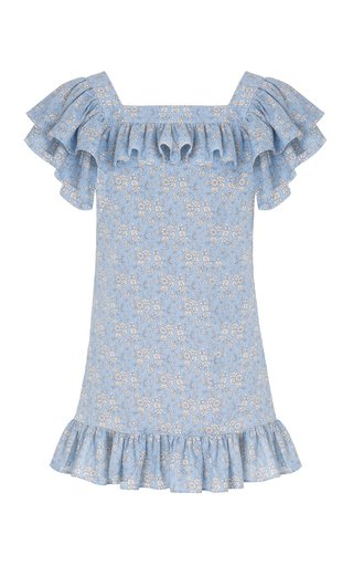 The Cry Baby Ruffled Printed Linen-Cotton Mini Dress