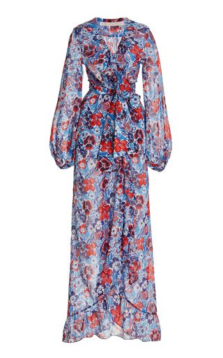 The Devastator Ruffled Printed Cotton Chiffon Maxi Wrap Dress