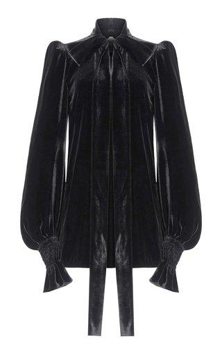 The Mini Fortune Teller Velvet Tie-Neck Dress