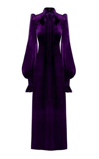 The Fortune Teller Velvet Tie-Neck Maxi Dress