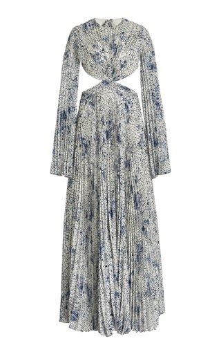 Kallisto Cutout Printed Plisse Maxi Dress