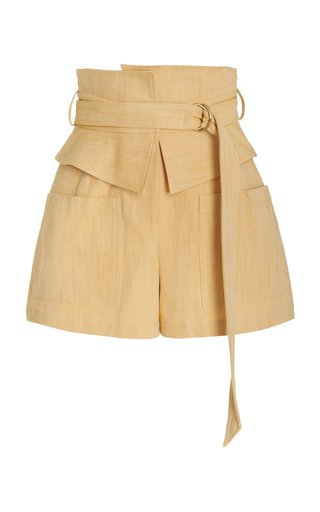 Thatcher Belted High-Rise Cotton-Blend Shorts