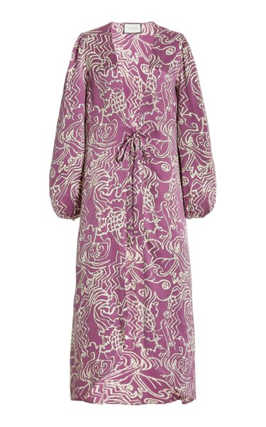 Setti Printed Satin Robe