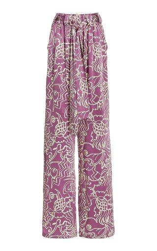 Bronzin Printed Satin Wide-Leg Pants