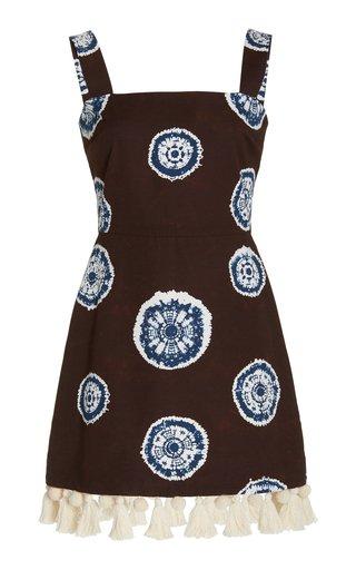 Sarena Tasseled Tie-Dyed Cotton Mini Dress