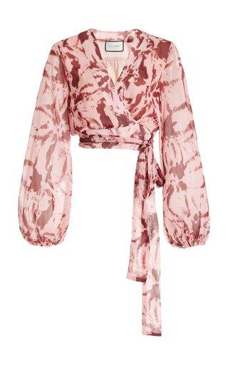 Sellia Ruffled Printed Silk Cropped Top