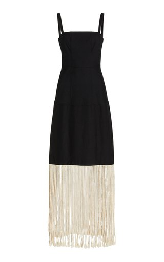 Carlotti Fringed Compact-Knit Maxi Dress