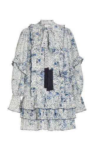 Fortune Printed Crepe Tie-Neck Mini Dress