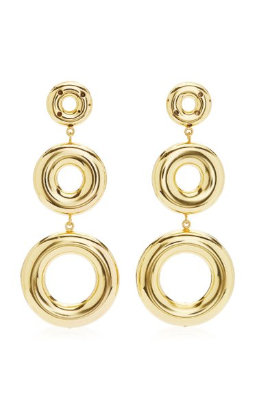 3 Circle 24K Gold-Plated Earrings