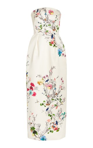 Strapless Floral Satin Tea-Length Cocktail Dress