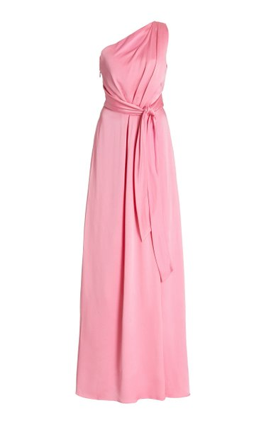 One Shoulder Draped Satin Gown
