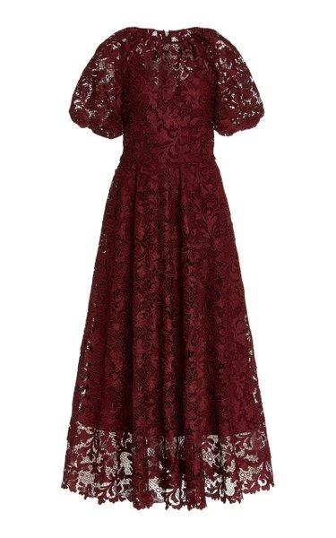 Puff-Sleeve Lace Tea-Length Dress