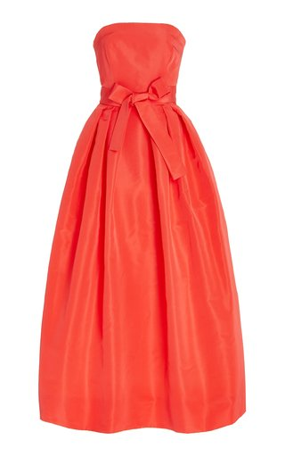 Belted Strapless Silk Faille Cocktail Dress