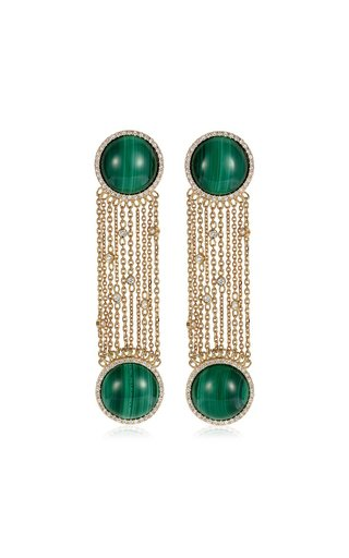 Ready 2 Discover 18K Yellow Gold Malachite, Diamond Earrings