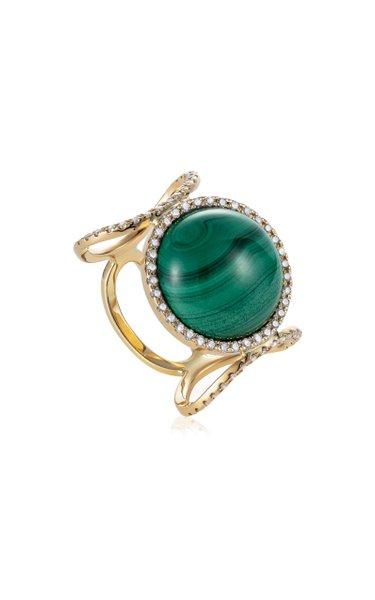 Ready 2 Shine 18K Yellow Gold Ring Malachite, Diamond Ring